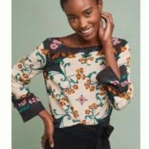 Anthro Floral Silk Blouse - Sz S - NEW!